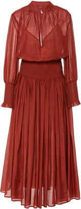 Bird & Knoll Delilah Ruch-Detailed Cotton-Silk Voile Maxi Dress