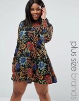 AX Paris Plus Swing Dress In Floral Print