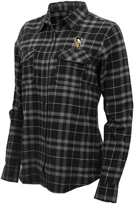Antigua Women's Black/Gray Pittsburgh Penguins Stance Plaid Button-Up Long Sleeve Shirt