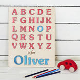 Wooden Toy Gallery My First Alphabet Boys Personalised Puzzle
