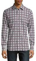 Brioni Printed Long Sleeve Cotton Sportshirt
