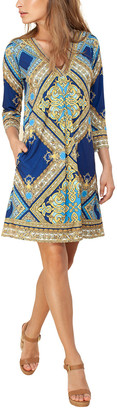 Hale Bob 3/4-Sleeve Beaded Mini Dress