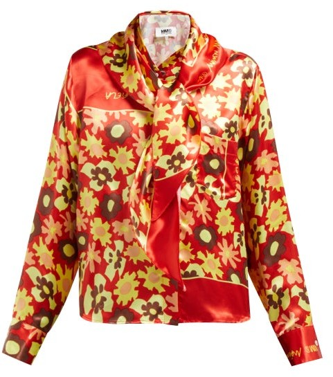 MM6 MAISON MARGIELA Sailor-collar Floral-print Satin Blouse - Womens - Orange Multi