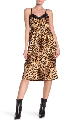 Velvet Torch Lace Trim Leopard Print Slip Dress