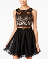 As U Wish Juniors' 2-Pc. Sequined Lace Fit & Flare Dress