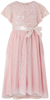 Monsoon Girls Truth Cape Sequin Hi Low Dress - Pale Pink