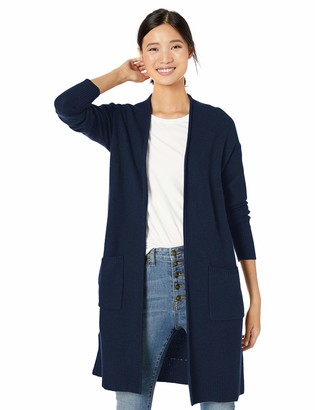 Goodthreads Amazon Brand Women's Wool Blend Honeycomb Longline Cardigan Sweater