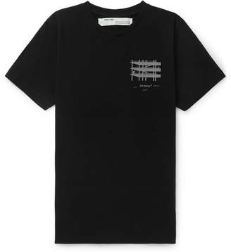 Off-White Off White Slim-Fit Reflective-Trimmed Cotton-Jersey T-Shirt