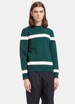 Marni Men's Striped Knit Sweater In Green