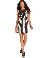 GUESS Dress, Sleeveless High-Neck Striped Lace