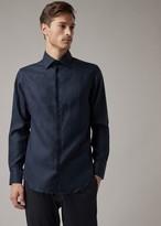 Giorgio Armani Regular-Fit Shirt In Single-Colored Linen With Guru Collar