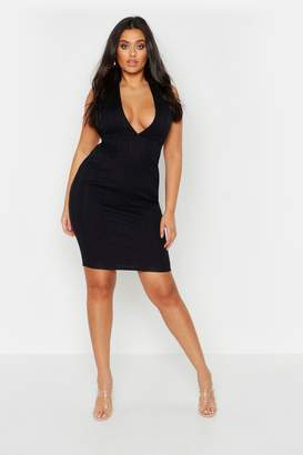 boohoo Plus Plunge Sculpt Bandage Midi Dress