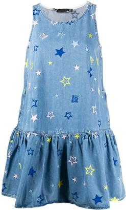 Love Moschino Sleeveless Embroidered Stars Denim Dress
