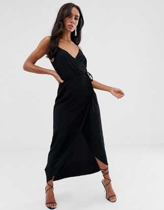 ASOS DESIGN cami wrap maxi dress in black