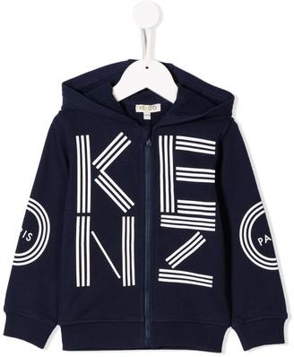 Kenzo Kids Logo Print Zip-Up Hoodie