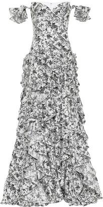 Caroline Constas Ruffle floral stretch-cotton gown