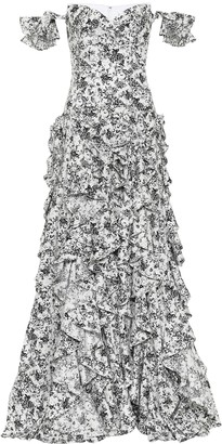 Caroline Constas Ruffle floral stretch-cotton gown