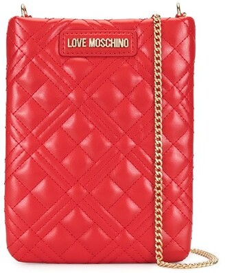 Love Moschino Chain-Strap Quilted Phone Holder