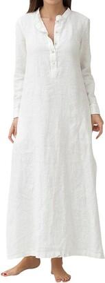 DEELIN Women's Kaftan Cotton Long Sleeve Standing Collar Autumn Solid Plain Oversized Maxi Casual Straight Long Shirt Dress White