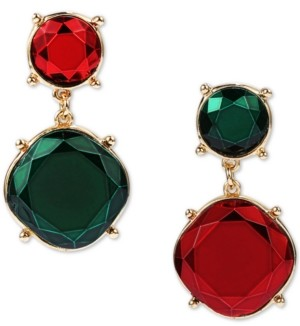 INC International Concepts Inc Gold-Tone Red & Green Crystal Mismatch Drop Earrings, Created for Macy's