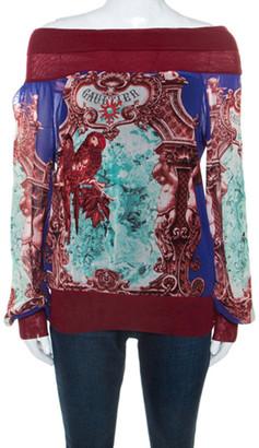 Jean Paul Gaultier Soleil Multicolor Printed Mesh Embroidery Detail Top M