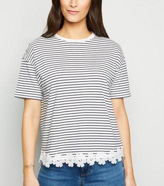 New Look Stripe Floral Crochet Trim T-Shirt