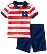 Little Me Baby Boys 12-24 Months Americana Striped Polo Top & Shorts Set