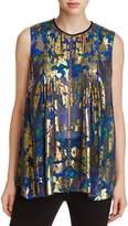 Elie Tahari Elle Chain Trim Metallic Paisley Silk Blouse