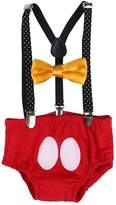 IWEMEK Baby Boys Adjustable Y Back Suspenders Bowtie Set Solid Elastic Strong Clips First Birthday Outfits
