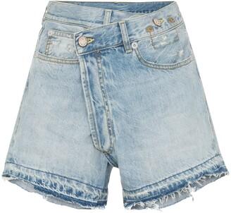 R 13 Tilly cross-over fray hem denim shorts