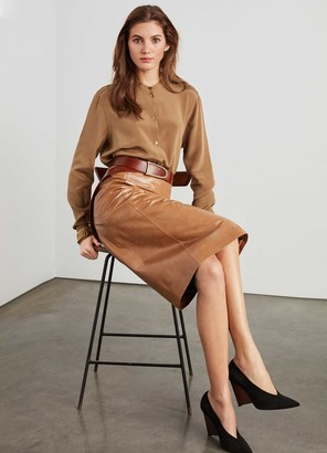 St. John Glossy Calf Leather Skirt