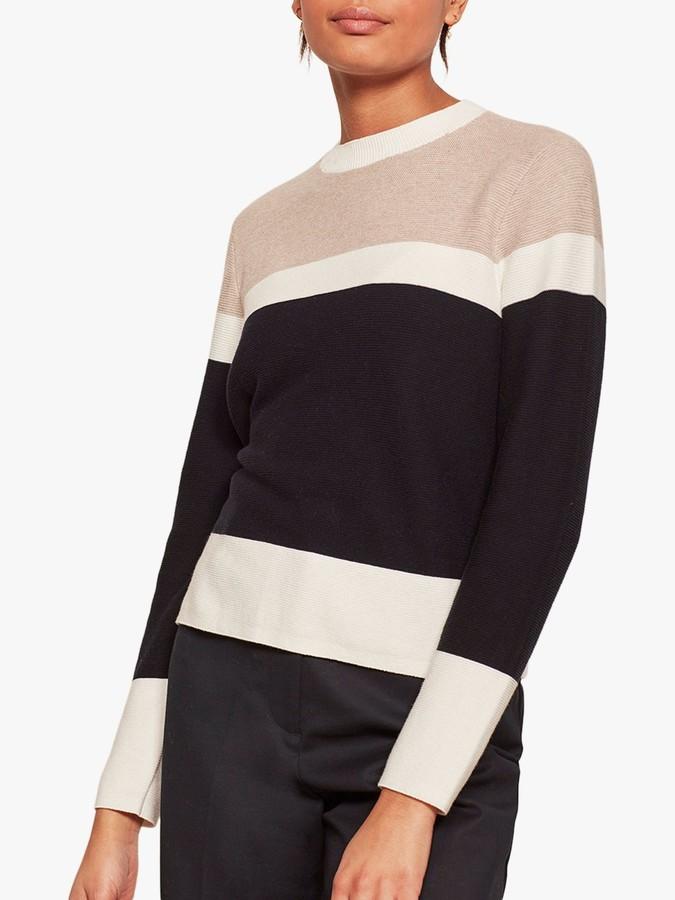 Mint Velvet Blocked Knit Jumper, Navy/Neutral