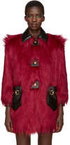 Gucci Red Faux-Fur & Leather Shag Coat