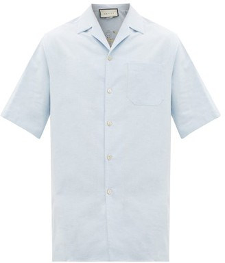 Gucci Nautical-embroidered Cotton Bowling Shirt - Mens - Light Blue