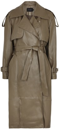Low Classic Taupe Belted Faux Leather Trench Coat