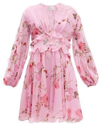 Giambattista Valli Peony-print Lace-trim Silk-georgette Dress - Womens - Pink Print
