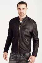 True Religion Cafe Racer Mens Leather Jacket