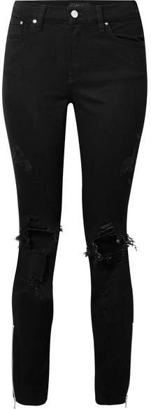 Amiri Thrasher Distressed High-rise Skinny Jeans - Black