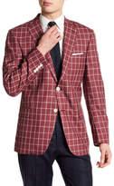 Hart Schaffner Marx Notch Collar Plaid Print Wool Sportcoat