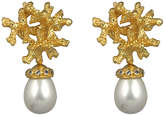 VALERE Pearl-Embellished Coral Earrings