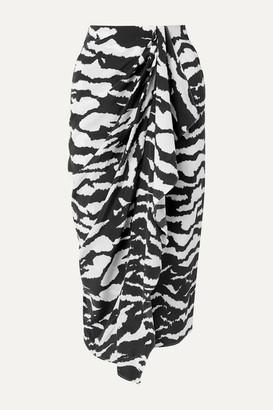 Isabel Marant Fabiana Wrap-effect Draped Zebra-print Silk-blend Crepe Midi Skirt - Zebra print