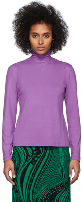 Rokh Purple Cotton Pullover Turtleneck