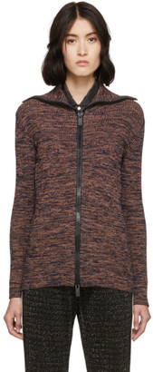M Missoni Orange and Multicolor Printed Zip-Up Sweater