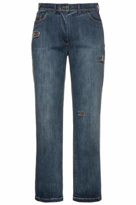 Ulla Popken Women's Jeanshose mit Glitzerdetail Mona Straight Jeans