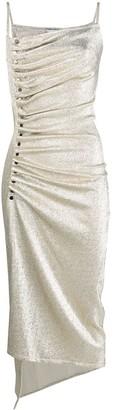 Paco Rabanne Asymmetric Ruched Midi Dress