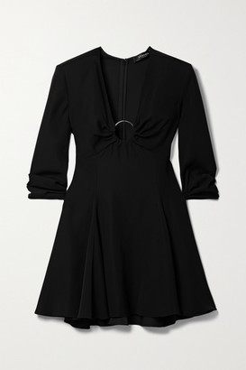 Versace Embellished Crepe Mini Dress - Black