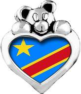 GiftJewelryShop Democratic Republic of The Congo flag Red Siam Crystal January Birthstone I Love You Heart Care Bear Charm