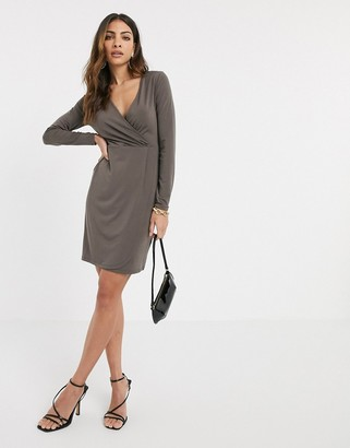 French Connection slinky wrap long sleeved dress-Grey