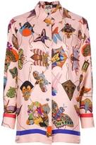Hermes Vintage Japanese kite print blouse