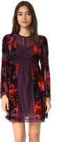 Anna Sui Tie Dye Poppy Burnout Velvet & Lace Dress